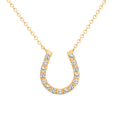 LEDODI Horse Shoe Diamond Pendant Necklace
