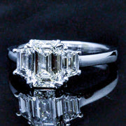 1.50 Ct. 3 Stone Emerald Cut Diamond Ring F VS2 GIA Certified