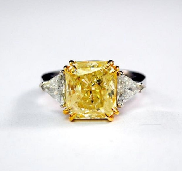 3.90 Ct. Canary Fancy Yellow Square Radiant Cut 3-Stone Diamond Ring SI1 GIA Certified
