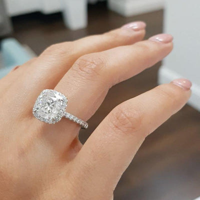 Rectangle Cushion Cut Halo Diamond Engagement Ring