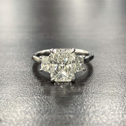 3.00 Ct. Radiant Cut 3 Stone Diamond Engagement Ring J Color VS2 GIA Certified