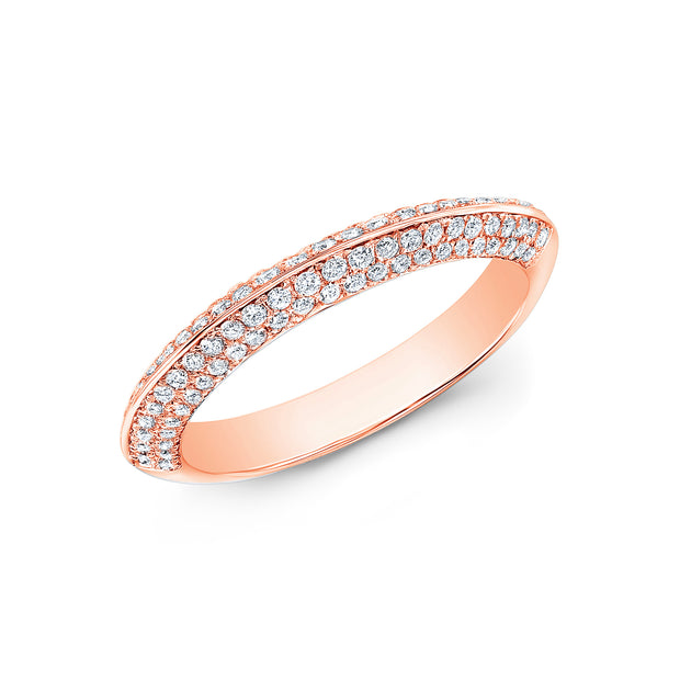 Knife Edge Micro Pave Wedding Band Anniversary Ring rose gold