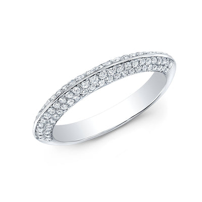 Knife Edge Micro Pave Wedding Band Anniversary Ring