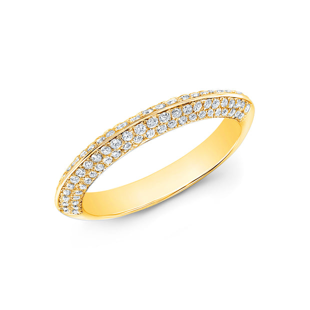 Knife Edge Micro Pave Wedding Band Anniversary Ring yellow gold