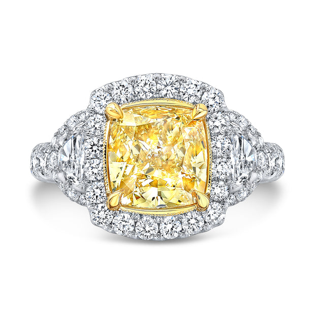 3.60 Ct. Canary Fancy Yellow Halo Cushion Cut Diamond Ring w Half Moons VVS1 GIA Certified