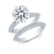 Knife Edge Micro Pave 6 Prong Diamond Engagement Ring with Matching Band