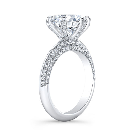 Knife Edge Micro Pave 6 Prong Diamond Engagement Ring Side View