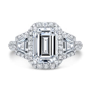 2.70 Ct. Halo Emerald Cut & Trapezoids Diamond Engagement Ring F Color VVS1 GIA Certified