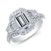 5.00 Ct. Halo Emerald Cut & Trapezoids Diamond Engagement Ring I Color VS1 GIA Certified