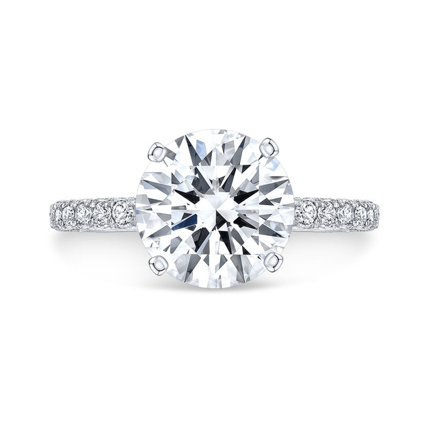 2.50 Ct. Hidden Halo Round Cut Diamond Engagement Ring J Color VS2 GIA Certified 3X