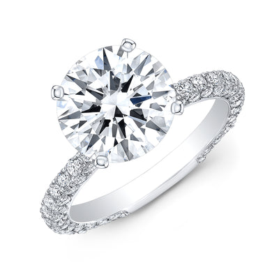 3.50 Ct. Hidden Halo Round Cut Diamond Engagement Ring H Color VS2 GIA Certified 3X