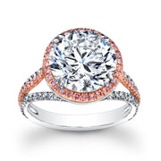 3.10 Ct. Halo Alyssa Round Brilliant Cut Pave Diamond Engagement Ring G Color SI1 GIA Certified