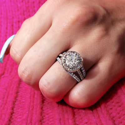 4.90 Ct. Halo Alyssa Round Brilliant Cut Pave Diamond Engagement Ring K Color VS1 GIA Certified