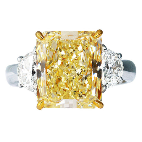 4.01 Ct. Canary Fancy Intense Yellow Cushion Cut w Half Moons Diamond Ring GIA Certified