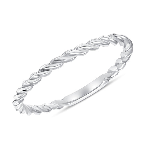 white gold braided ring