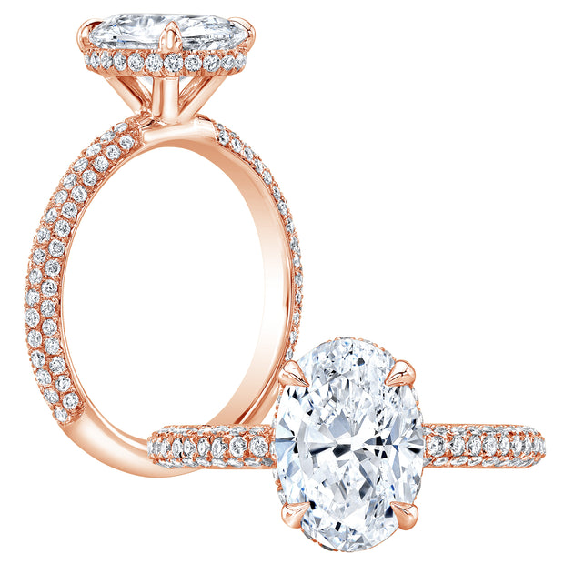 1.35 Ct. Oval Cut 3-Row Pave Under-Halo Diamond Engagement Ring H Color VS2 GIA Certified