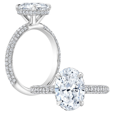 1.85 Ct. Under-Halo Oval Cut Pave Diamond Engagement Ring H Color VS1 GIA Certified