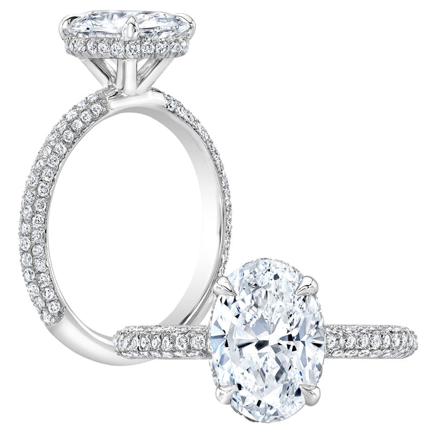 3.40 Ct. Oval Cut Under-Halo Pave Diamond Engagement Ring G Color VS2 GIA Certified