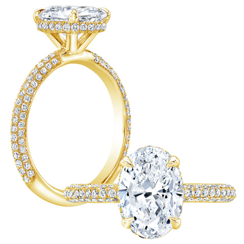 2.40 Ct. Oval Cut Pave Under-Halo Diamond Engagement Ring H Color VS1 GIA Certified
