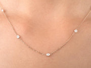Round Cut Bezel Set Diamond Train Necklace