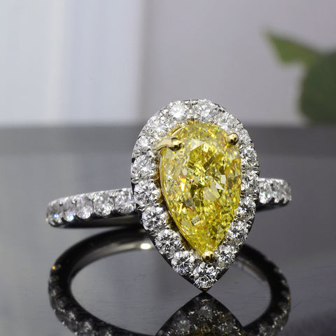 2.60 Ct. Halo Canary Fancy Yellow Pear Shape Diamond Ring VS2 Clarity GIA Certified