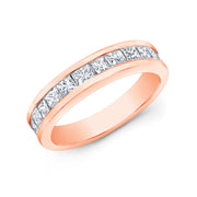 1.00 Ct. Princess Cut Diamond Wedding Band Anniversary Ring 4mm Width G Color VS Clarity