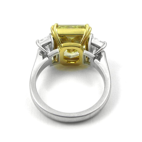 4.50 Ct. Canary Fancy Light Yellow Cushion Cut w Half Moons Diamond Ring VS1 GIA Certified