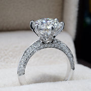 1.70 Ct. Knife Edge Micro Pave 6 Prong Diamond Engagement Ring H Color VS2 GIA Certified 3X