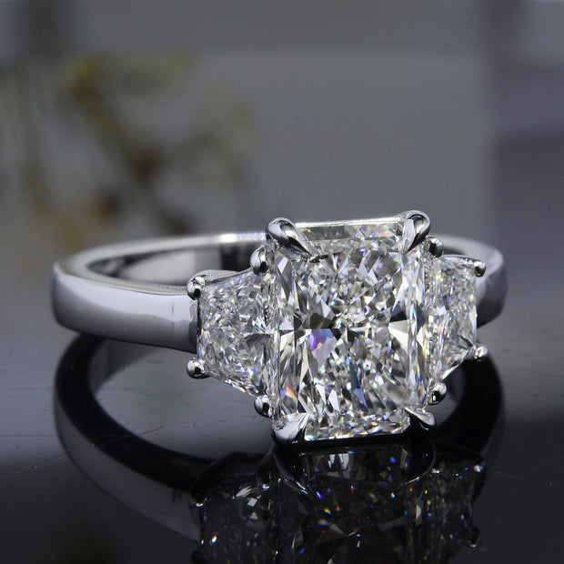 3.50 Ct. Radiant Cut 3 Stone Diamond Engagement Ring H Color VS1 GIA Certified
