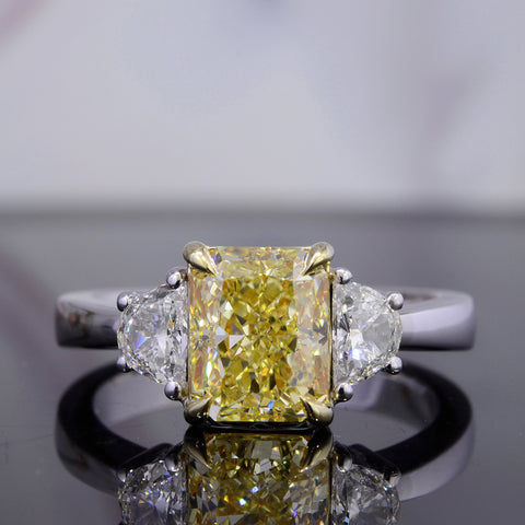 2.66 Ct. Canary Fancy Light Yellow Radiant Cut & Half Moon Diamond Ring VS2 GIA Certified
