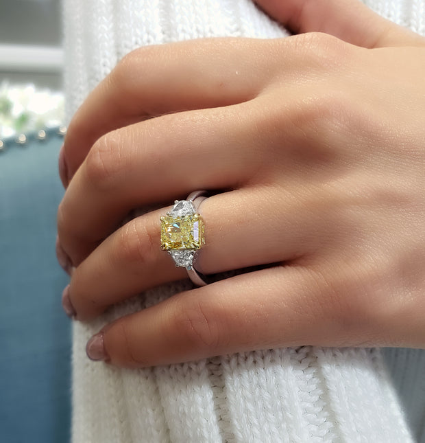 2.20 Ct. Canary Fancy Light Yellow Radiant Cut & Half Moon Diamond Ring VS1 GIA Certified