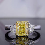 2.00 Ct. Canary Fancy Yellow Radiant Cut with Half Moons 3 Stone Diamond Ring VVS1 GIA Certified