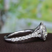 Platinum 2.10 Ct. Round Cut Halo Baby Split Shank Diamond Ring F Color VVS2 GIA Certified