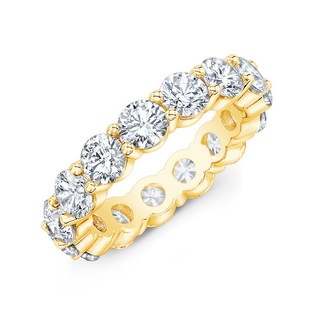 7.0 Ct. Round Diamond Eternity Band Wedding Ring yellow gold