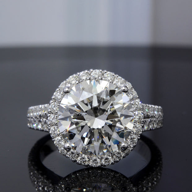 3.40 Ct. Halo Split Shank Round Cut Diamond Ring G Color VS1 GIA Certificate 3X