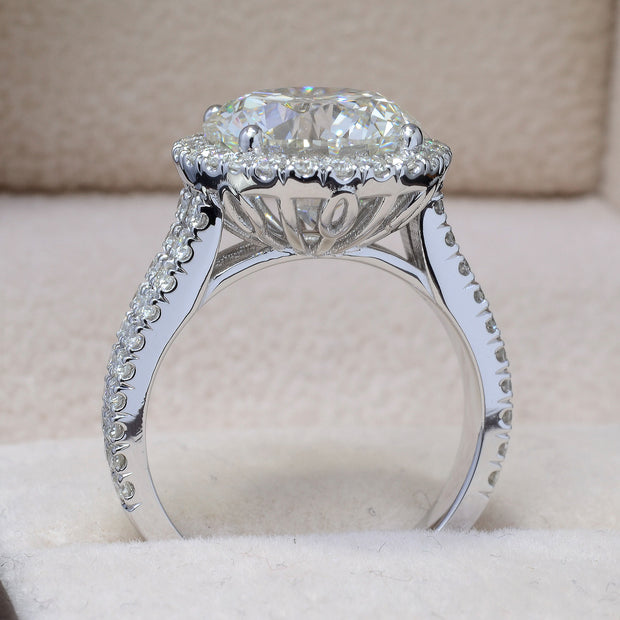 5.90 Ct. Halo Split Shank Round Cut Diamond Engagement Ring I Color VS2 GIA Certificate 3X