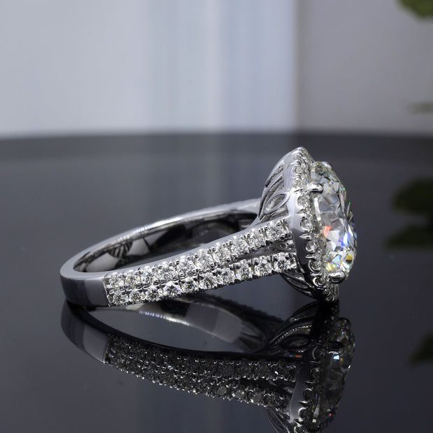 3.90 Ct. Halo Split Shank Round Cut Diamond Ring H Color VS1 GIA Certificate 3X