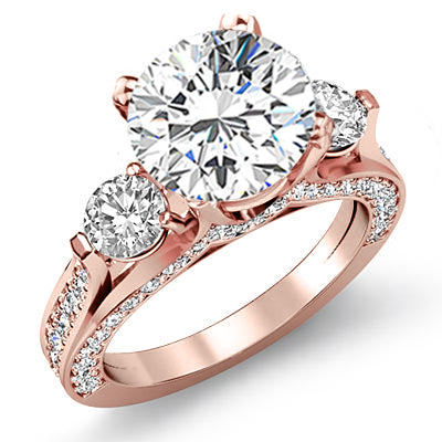 3.30 Ct. Round Cut 3 Stone Diamond Engagement Ring H Color VS1 GIA Certified