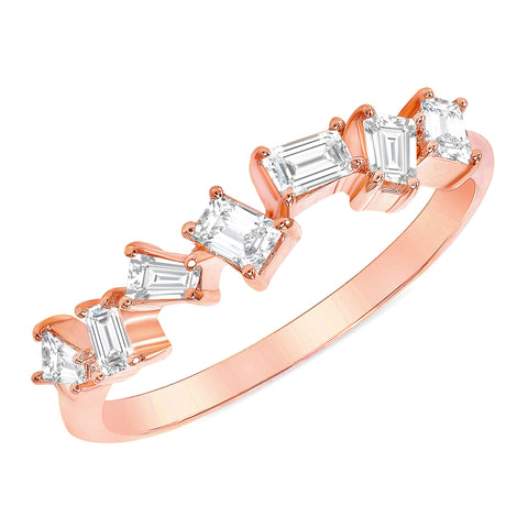 Rose Gold Scattered Baguette Diamond Ring