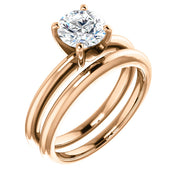 5.00 Ct. Round Cut Diamond Solitaire Engagement Ring w Band F Color SI2 GIA Certified