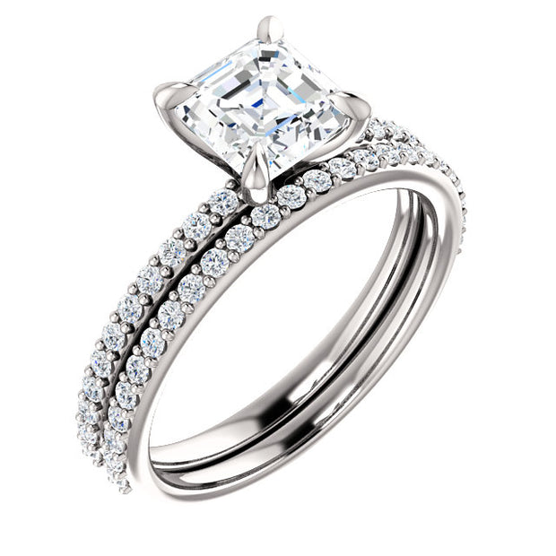 1.90 Ct. Square Asscher Cut Diamond Engagement Set H Color VS1 GIA Certified