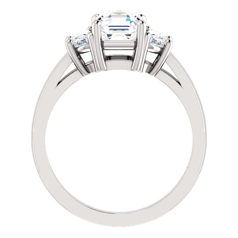 2.80 Ct. Asscher Cut with Half Moons 3 Stone Diamond Ring G Color VS1 GIA certified