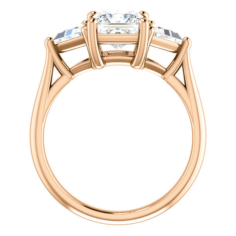 Princess w Trillion Cut 3 Stone Diamond Ring rose gold side view