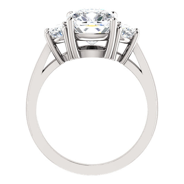 3.90 Ct. Cushion Cut Diamond Three Stone Diamond Ring J Color VS2 GIA Certified