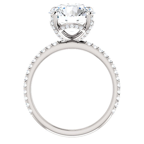 6.00 Ct. Hidden Halo Round Cut Diamond Ring Set J Color SI1 GIA certified