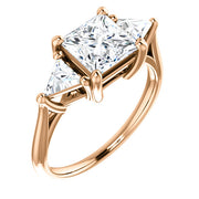 2.40 Ct.  Princess Cut w Trillion Cut 3 Stone Diamond Ring H Color VS1 GIA Certified