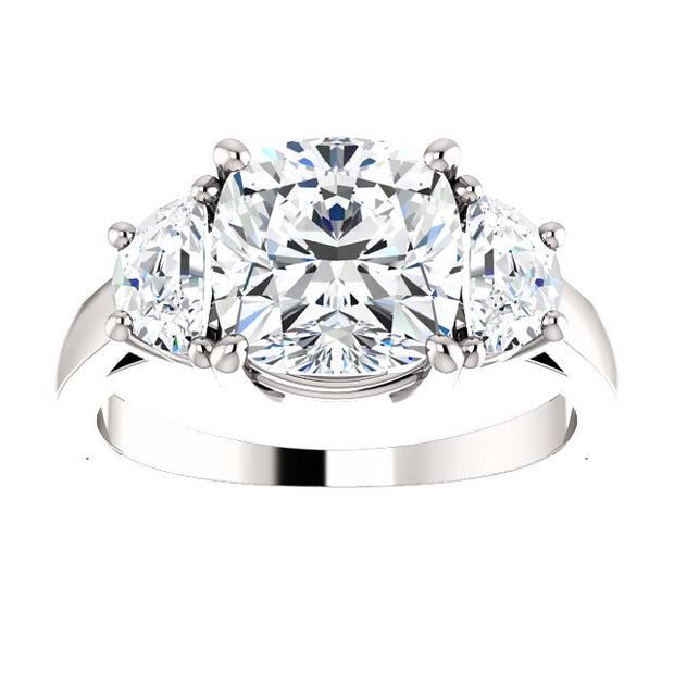3.90 Ct. Cushion Cut Diamond Three Stone Engagement Ring I Color VS2 GIA Certified