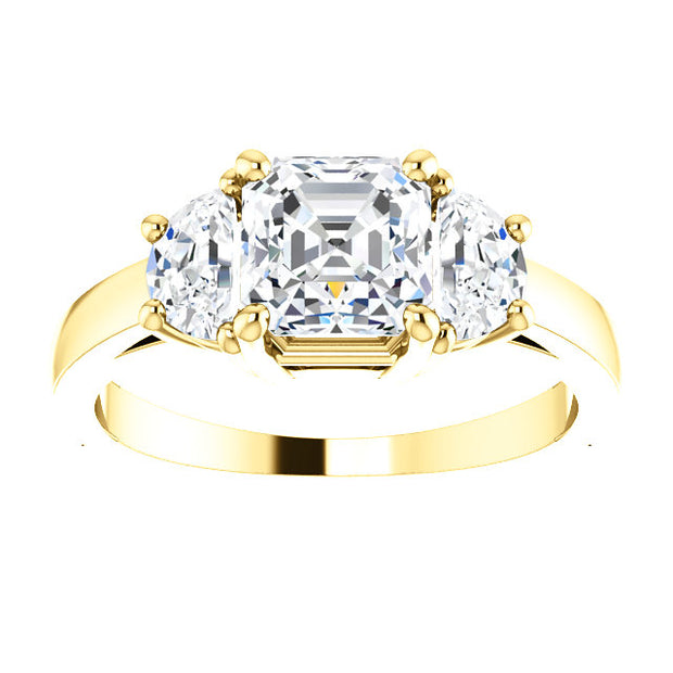 2.10 Ct. Asscher Cut with Half Moons 3 Stone Diamond Ring G Color VS1 GIA certified