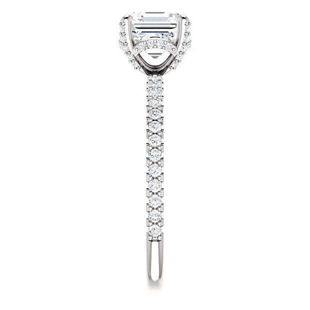 2.30 Ct. Under Halo Asscher Cut Diamond Ring w Matching Band H VS2 GIA Certified