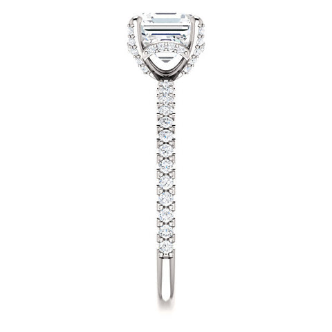 4.30 Ct. Under Halo Asscher Cut Diamond Ring w Matching Band I SI1 GIA Certified